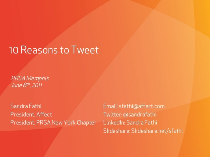 10 Reasons to Tweet - PRSA Memphis Chapter