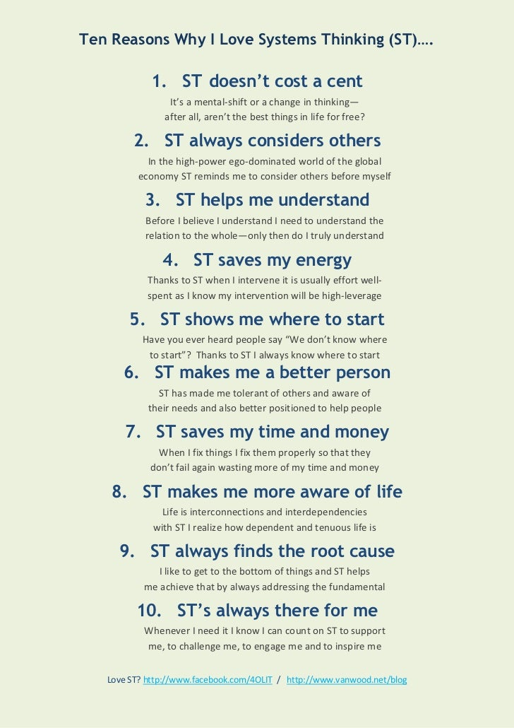 Ten Reasons Why I Love Systems Thinking