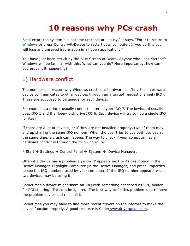 """1                   10 reasons why PCs crash Fatal error: the system has become unstable or is busy,"""" it says. """"Enter to r..."""