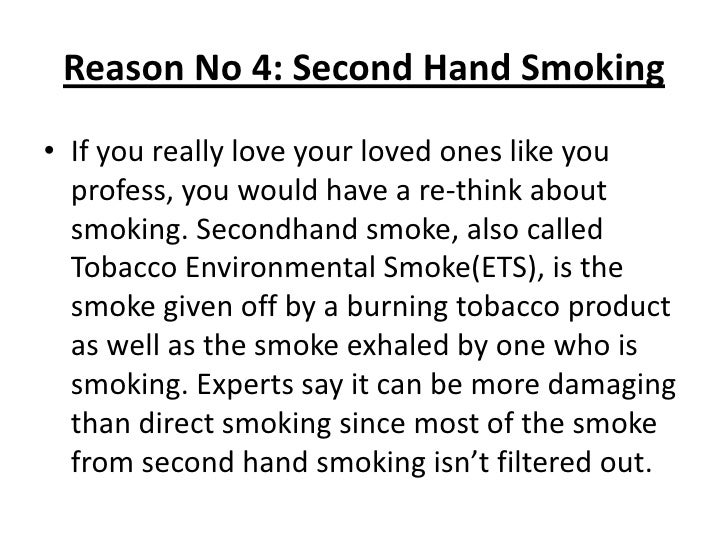 reasons why smoking should be banned