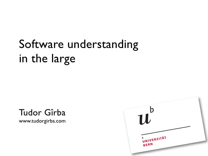 Software understanding in the large (EVO 2008)