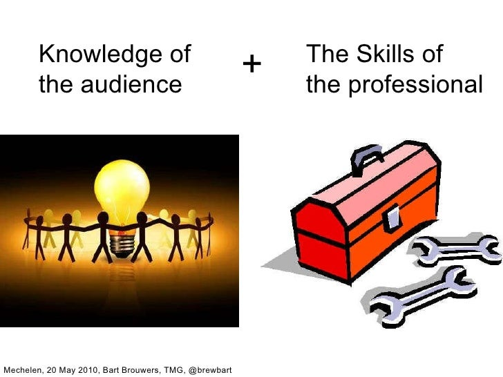 Knowledge of the audience The Skills of the professional + Mechelen, 20 May 2010, Bart Brouwers, TMG, @brewbart