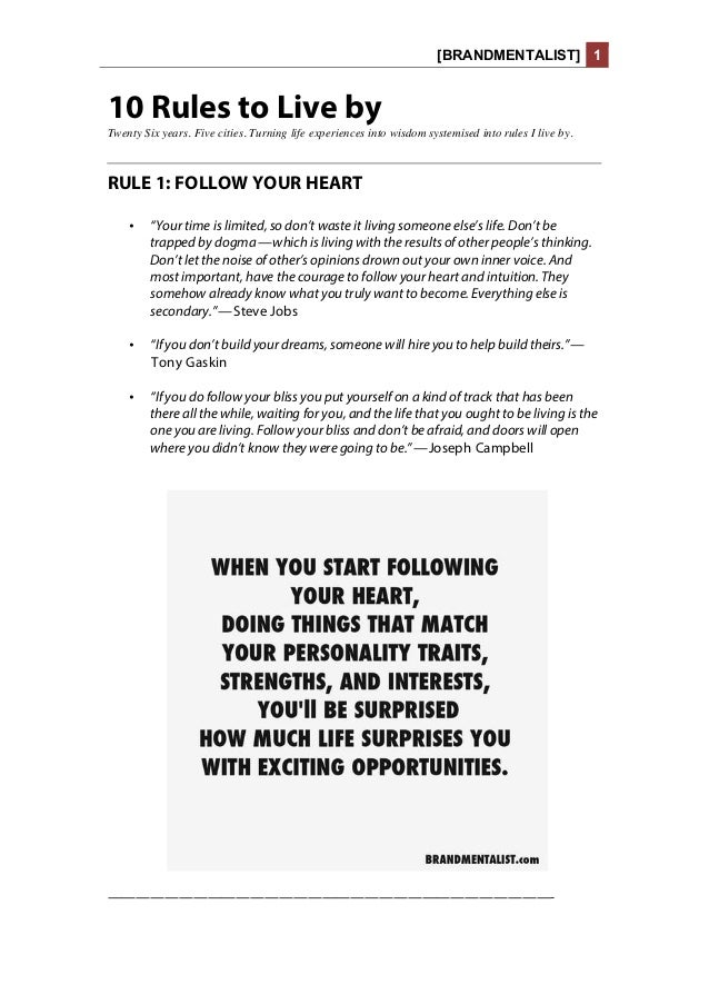 [BRANDMENTALIST] 1 10 Rules to Live by Twenty Six years. Five cities. Turning life experiences into wisdom systemised into...