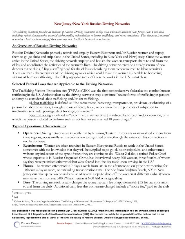 New Jersey/New York Russian Driving NetworksThe following document provides an overview of Russian Driving Networks as the...