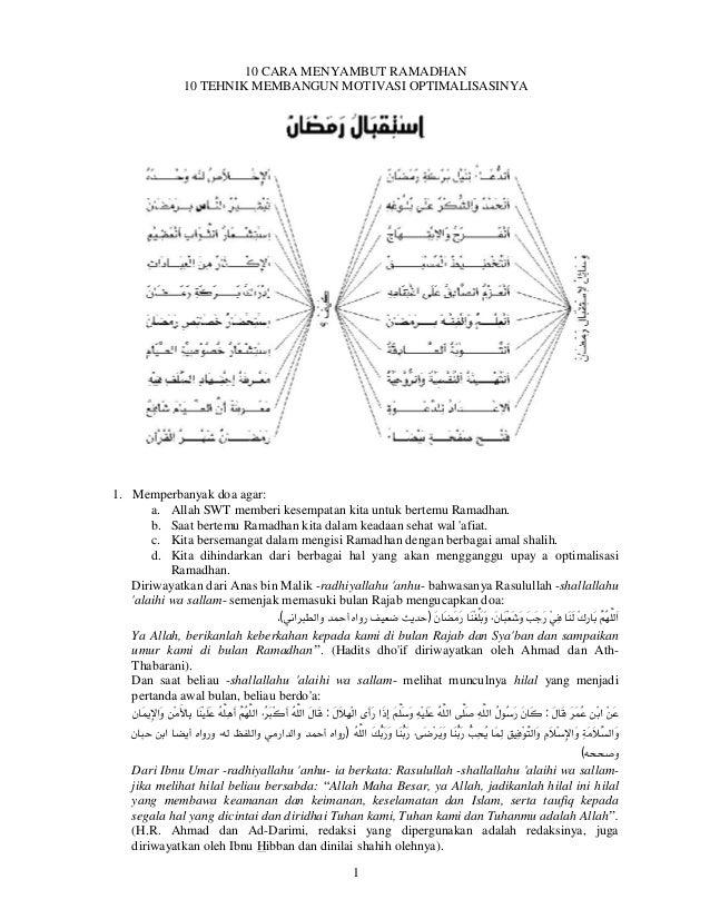 10 sarana 10 kiat (menyambut Ramadhan dan Membangun Motivasi