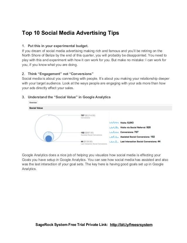 Top 10 Social Media Advertising Tips1. Put this in your experimental budget.If you dream of social media advertising makin...