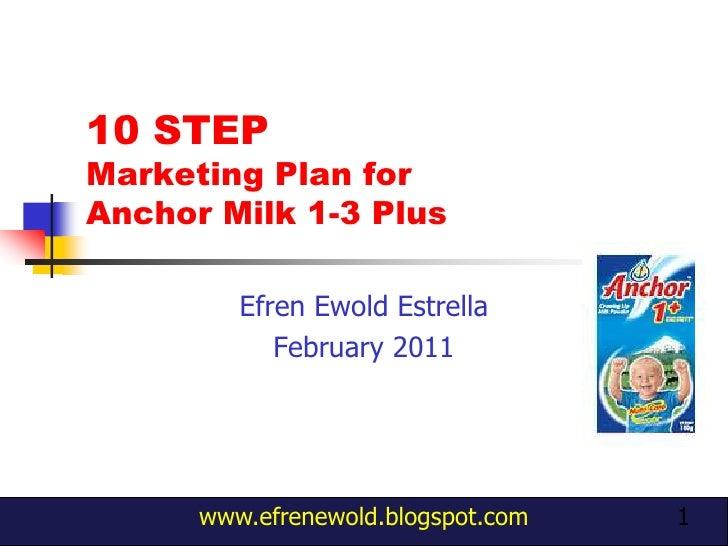 1<br />10 STEP Marketing Plan for Anchor Milk 1-3 Plus<br />EfrenEwoldEstrella<br />February 2011<br />