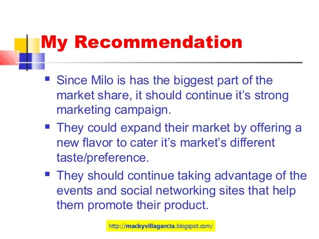 milo philippines marketing plan Marketing management: milo marketing plan  hundred years after it first  started operations in the country, nestlé philippines, inc (npi) today.