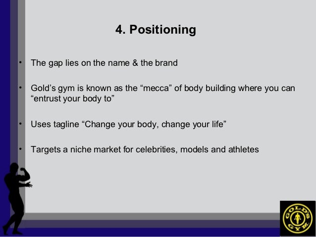 gold s gym marketing plan I executive summary our research project with gold's gym has allowed us to make conclusions and provide new marketing strategies in order to target a newly discovered undeserved market.