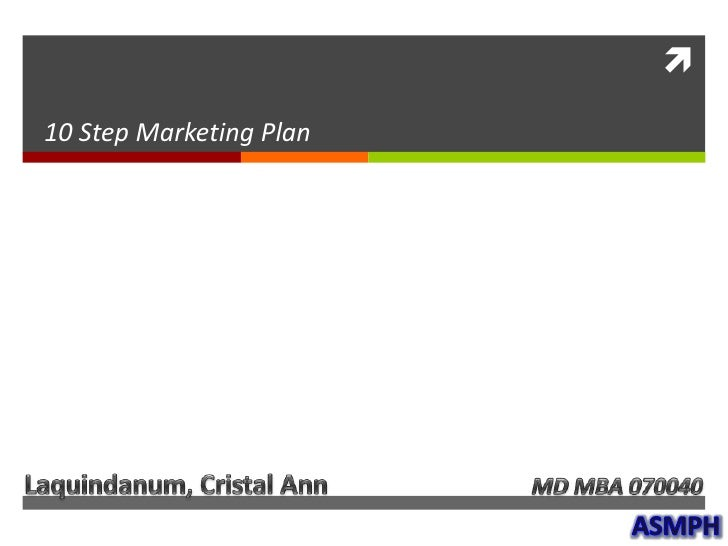 10 Step Marketing Plan<br />Laquindanum, Cristal Ann<br />MD MBA 070040<br />ASMPH<br />