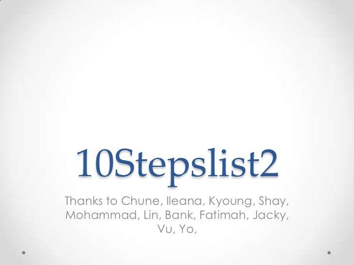 10 stepslisttwo