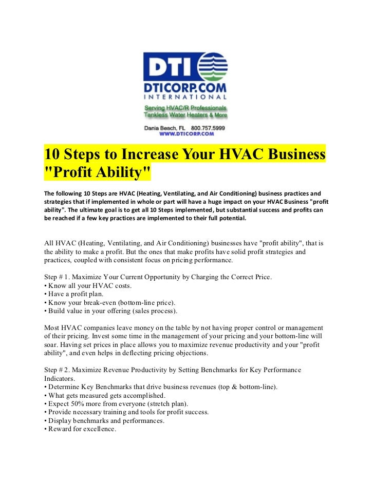"10 Steps to Increase Your HVAC Business""Profit Ability""The following 10 Steps are HVAC (Heating, Ventilating, and Air Cond..."