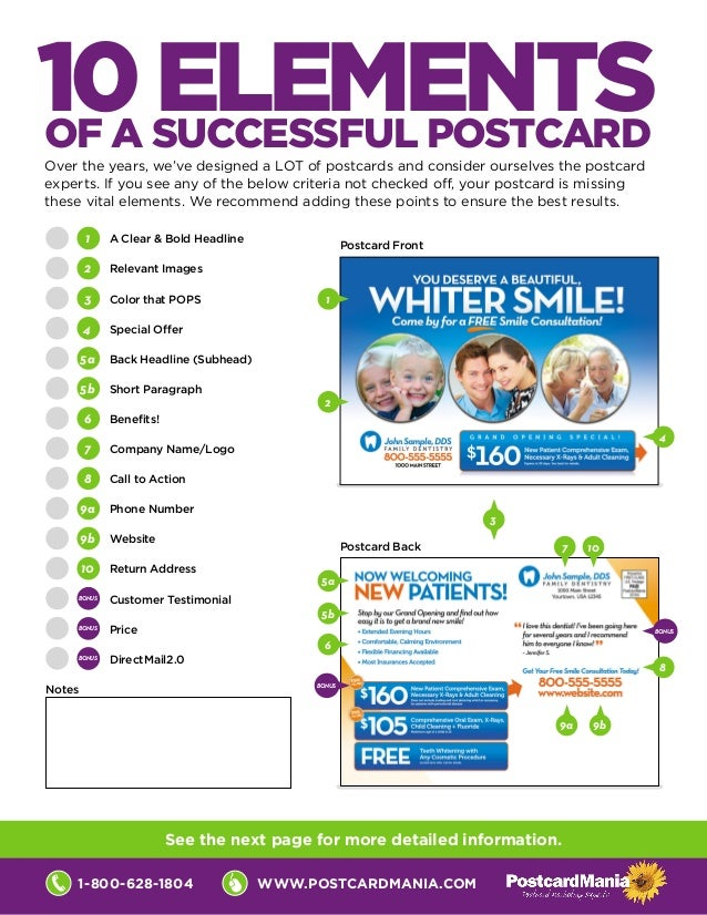 www.postcardmania.com1-800-628-1804 1 	 A Clear & Bold Headline 2 	 Relevant Images 3 	 Color that POPS 4 	 Special Offer ...