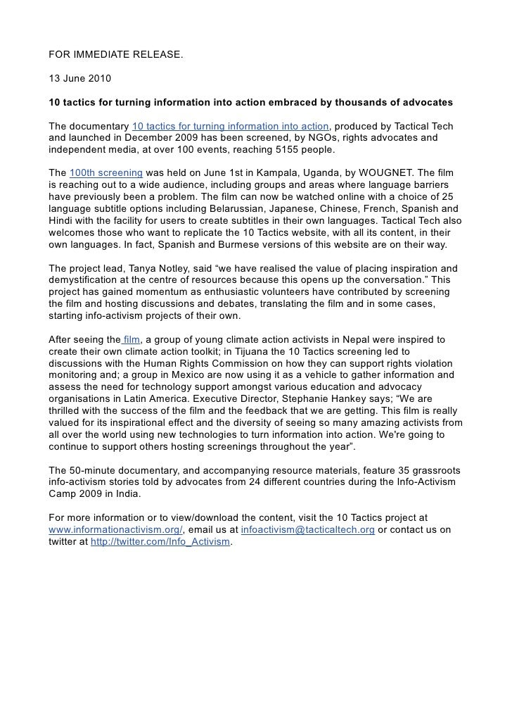 FOR IMMEDIATE RELEASE.  13 June 2010  10 tactics for turning information into action embraced by thousands of advocates  T...