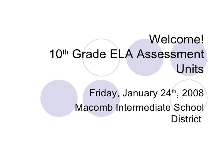 Welcome! 10 th  Grade ELA Assessment Units Friday, January 24 th , 2008 Macomb Intermediate School District