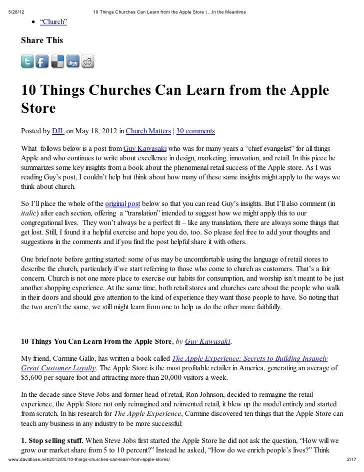 5/28/12                               10 Things Churches Can Learn from the Apple Store | ...In the Meantime              ...
