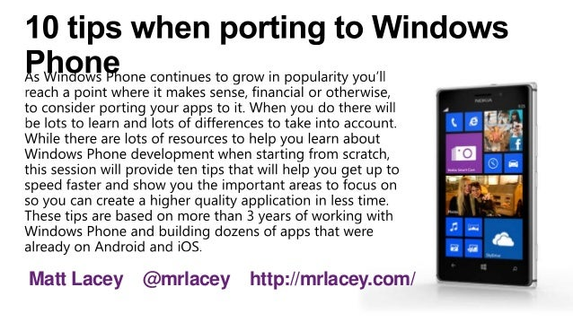 10 tips for porting to Windows Phone 8