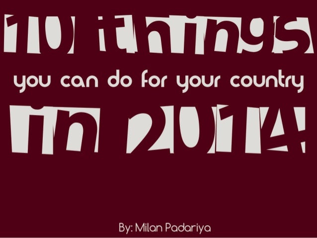 10 things you can do for your country in 2014