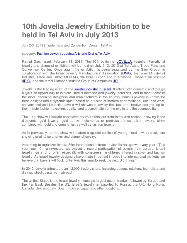 10th Jovella Jewelry Exhibition to be held in Tel Aviv in July 2013 July 2-3, 2013 | Trade Fairs and Convention Center, Te...