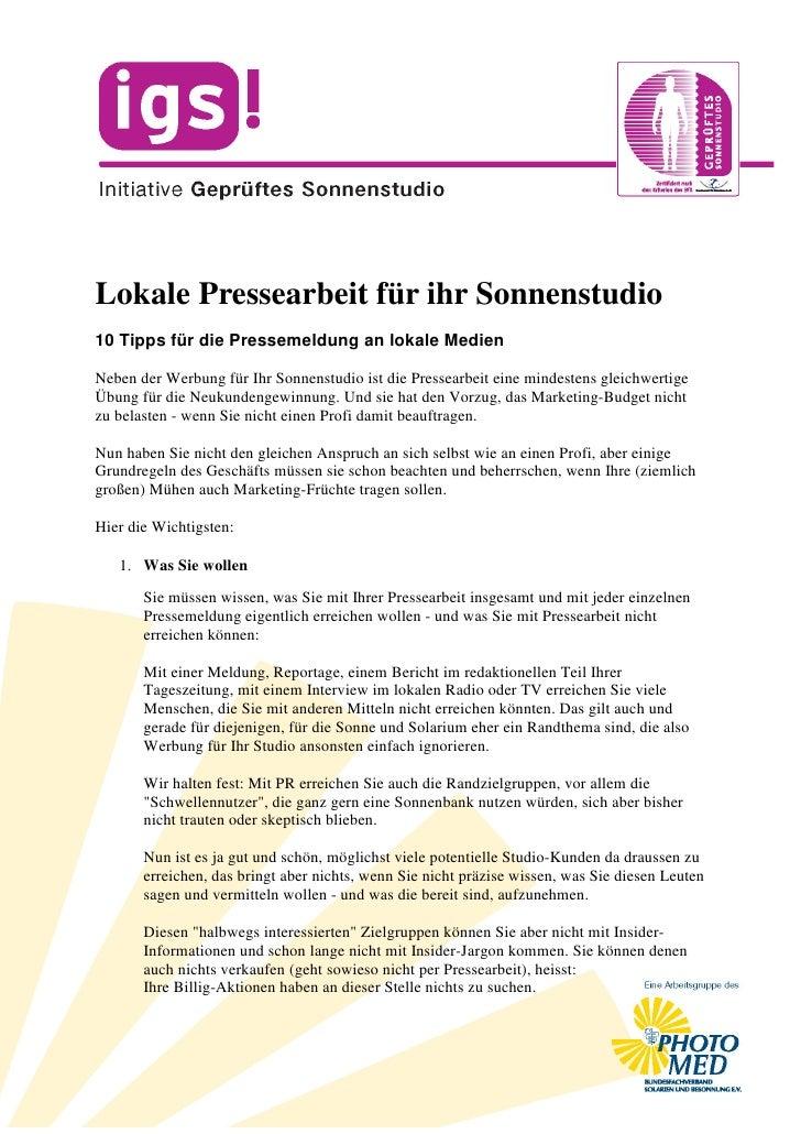 Lokale Pressearbeit für ihr Sonnenstudio 10 Tipps für die Pressemeldung an lokale Medien  Neben der Werbung für Ihr Sonnen...