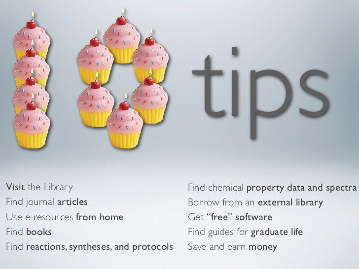 10 tips for the Chemistry & Chemical Engineering Library, UC Berkeley, 2011 - 2012