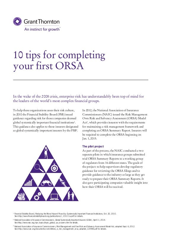 10 tips for completing your first ORSA