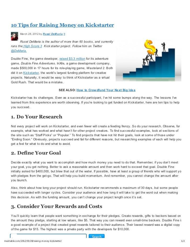 10 tips for raising money on kickstarter