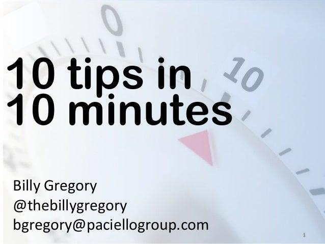 10 tips in 10 minutes - DevTO Sept 30, 2013