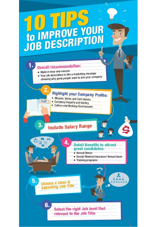 10 TIPS JOB DESCRIPTIONto IMPROVE YOUR 1. Overall recommendation: Make it clear and concise Your job description is like a...