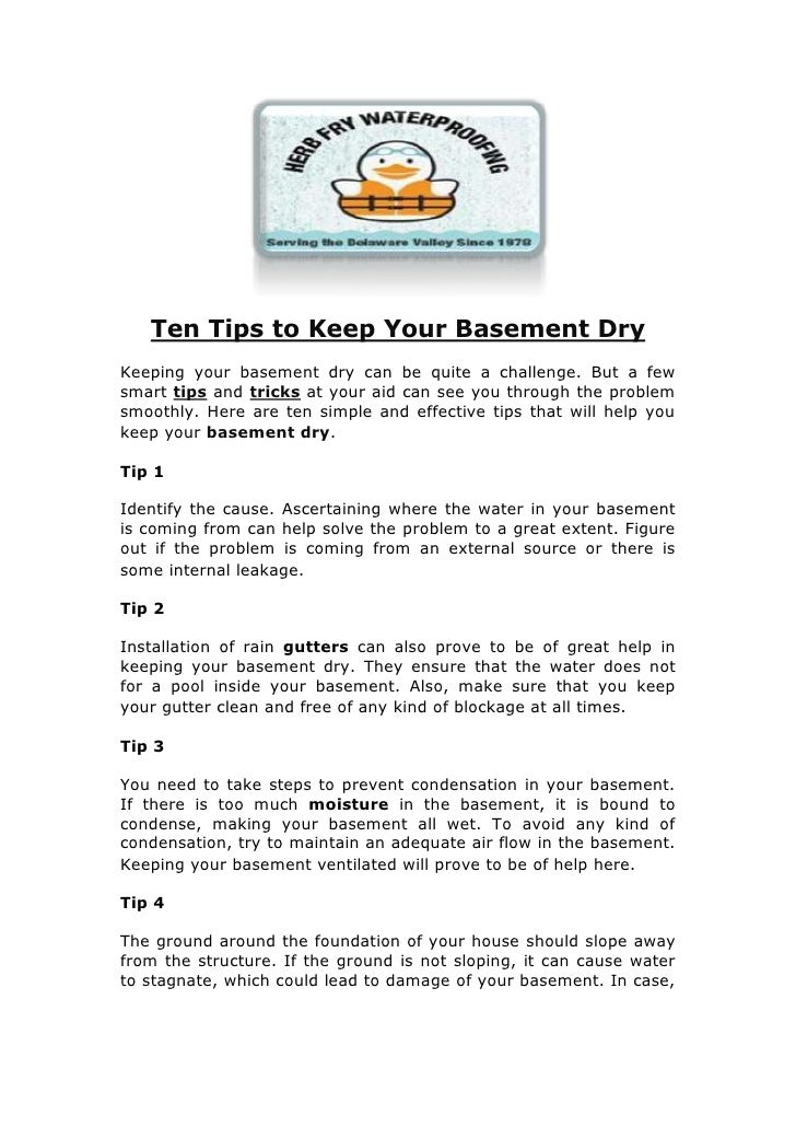 Ten Tips to Keep Your Basement Dry<br />Keeping your basement dry can be quite a challenge. But a few smart tips and trick...