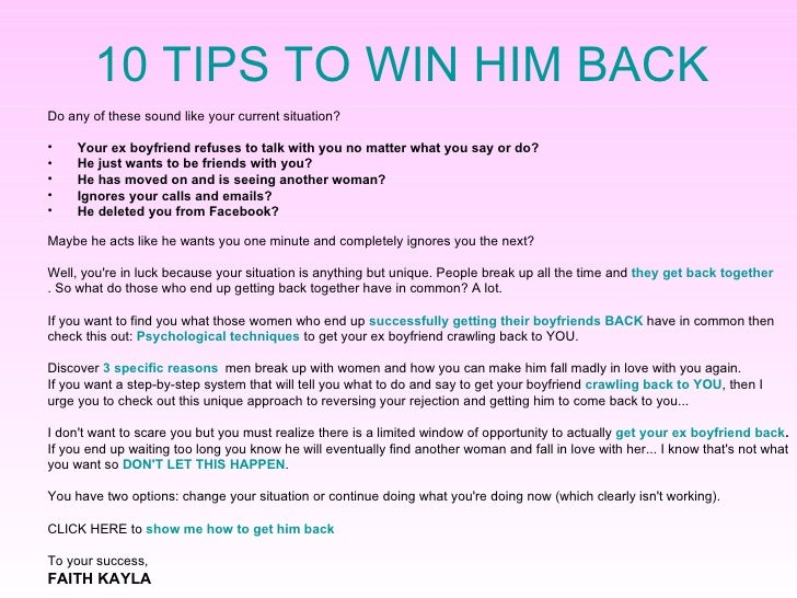 10 tips to get your man back letters to get your boyfriend back just try to understand the situation and learn how to take the right steps to get him back forever whatever your personal reason is i know how it feels to spiritdancerdesigns Images