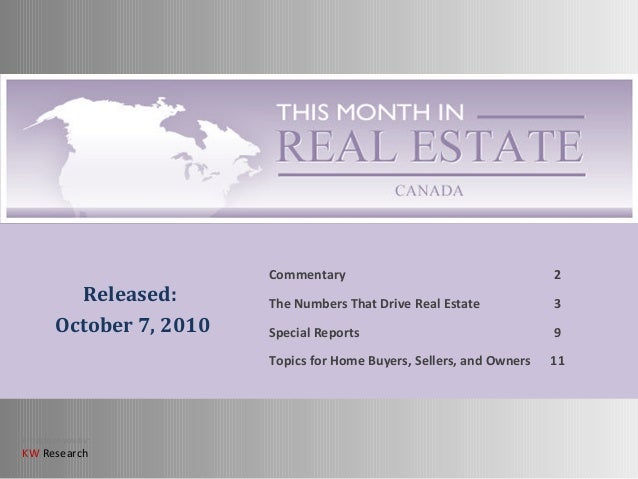This Month in Real Estate For Canada - Nov. 2010
