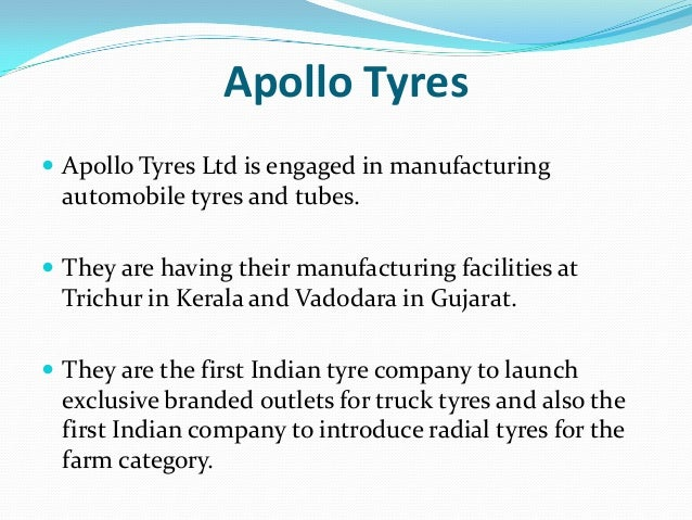 swot of apollo tyres Apollo tyres | download and upload project reports related to apollo tyres limited, india's largest entrepreneurship 4268 swot analysis 3692 stp 3448 segmentation 3435 positioning 3429 targeting 3417 competitor analysis 3068 venture 2497 launching a new venture 2494 new venture 2494.