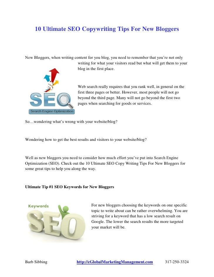 New Bloggers SEO Copy Writing Tips