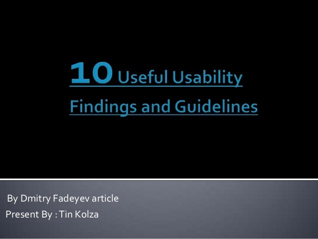 10 useful usability findings and guidelines (UX & UI)
