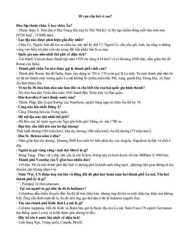 10 vạn câu hỏi vì sao