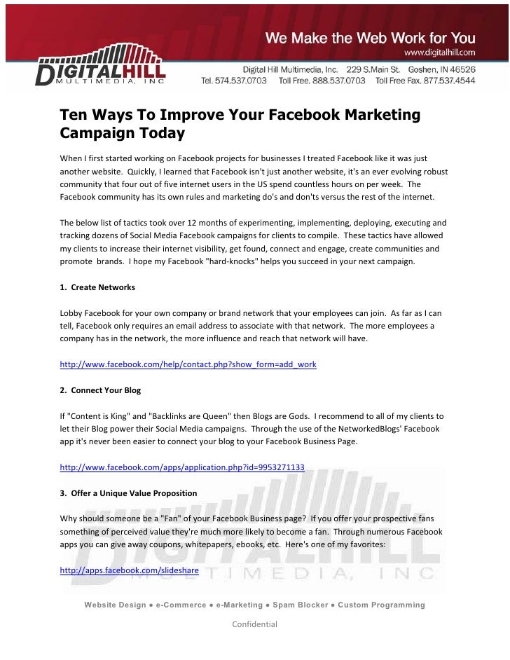 10 Ways To Improve Your Facebook Marketing Campaign Today