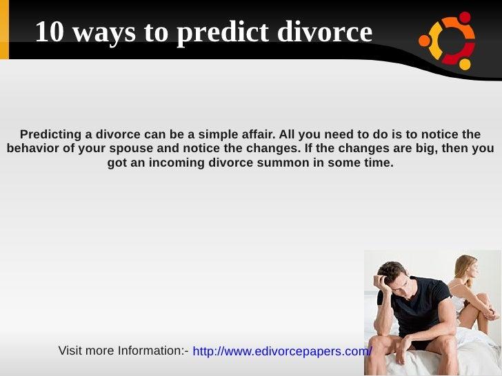 10 ways to predict divorce