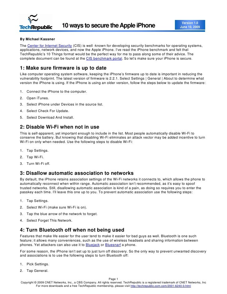 Version 1.0                              10 ways to secure the Apple iPhone                                               ...