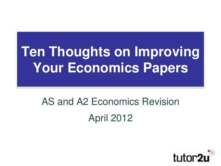 Improving your Economics Exam Score