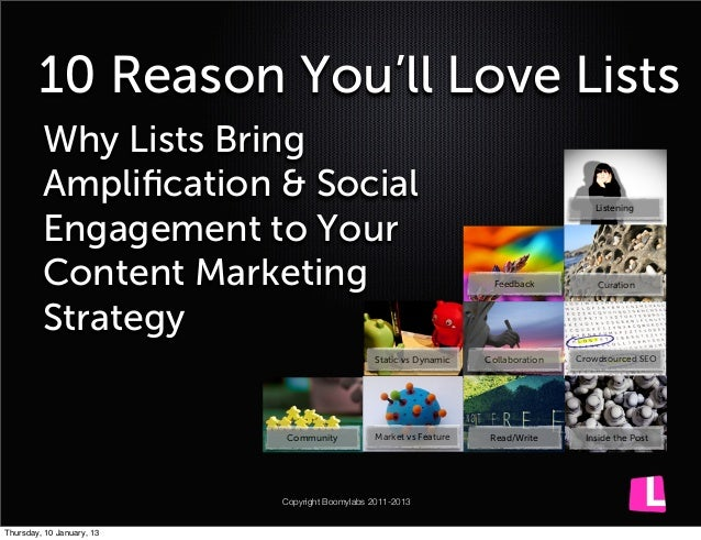 10 Reason You'll Love Lists         Why Lists Bring         Amplification & Social                                         ...