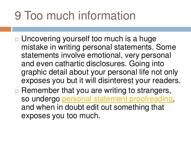 What information should be included in a personal statement?