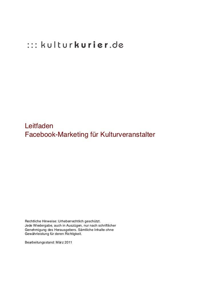 Leitfaden Facebook Marketing für Kulturveranstalter