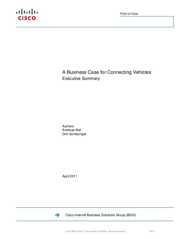The Business Case for Connected Vehicles: Executive Summary