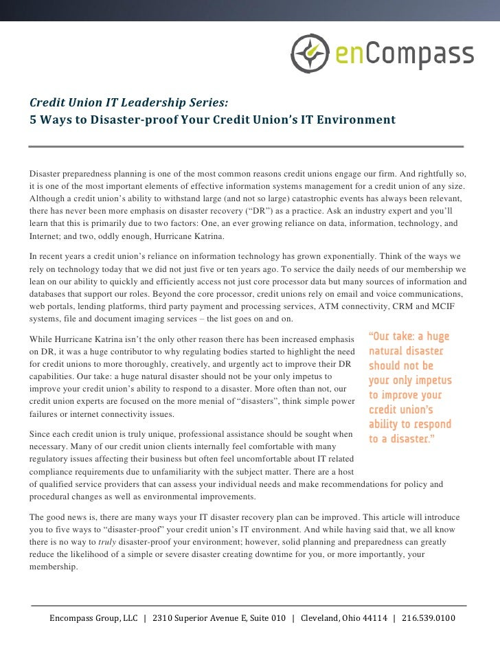 Credit Union IT Leadership Series:5 Ways to Disaster-proof Your Credit Union's IT EnvironmentDisaster preparedness plannin...