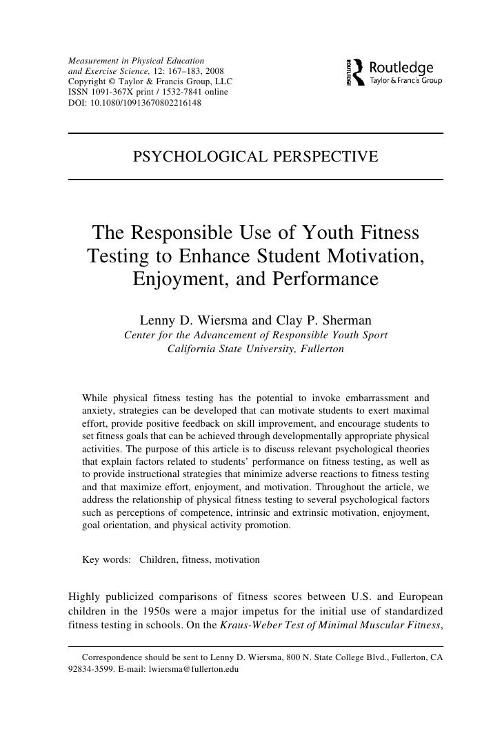 Measurement in Physical Education and Exercise Science, 12: 167–183, 2008 Copyright © Taylor & Francis Group, LLC ISSN 109...