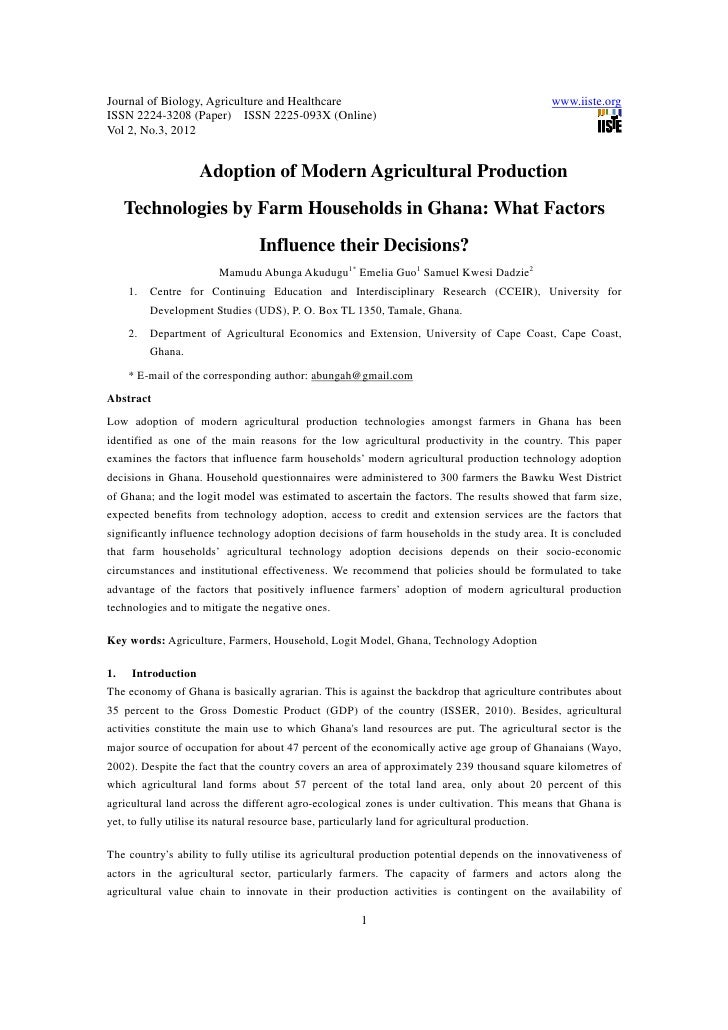 11.[1 13]adoption of modern agricultural production technologies by farm households in ghana