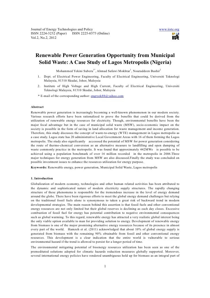 11.[1 14]renewable power generation opportunity from municipal solid waste