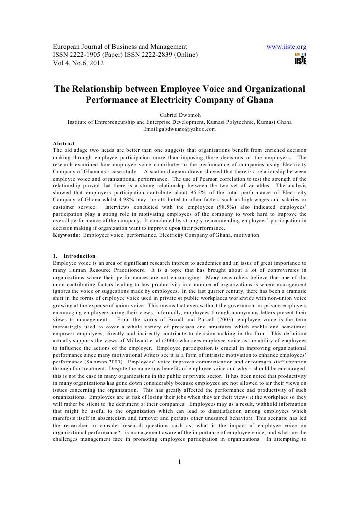 11.[1 6]the relationship between employee voice and organizational performance at electricity company of ghana