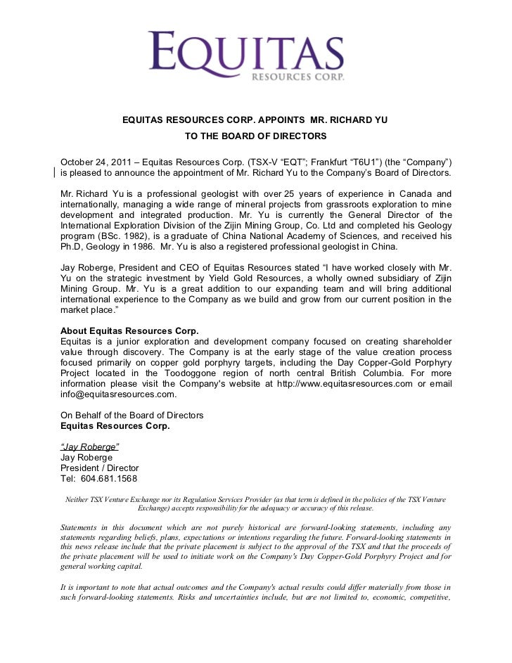 Equitas Resources Corp. Announces the appointment of General Director of International Exploration from Zijin Mining Group to Board of Directors